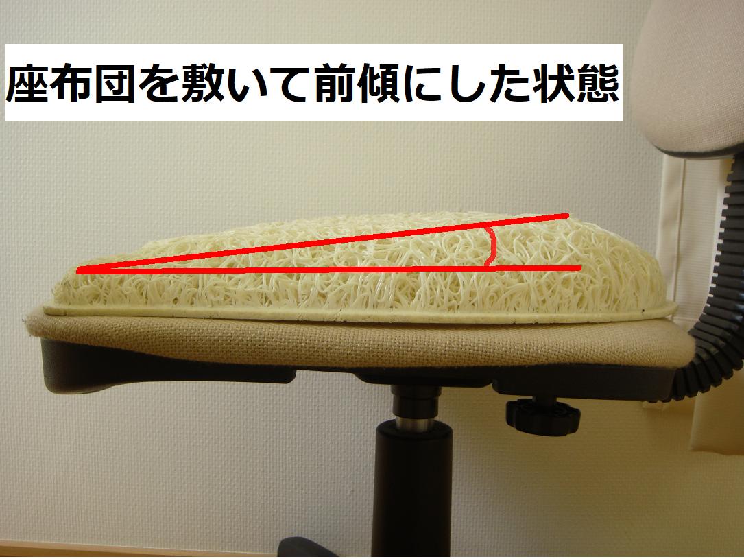 イスの座面を前傾させると良い姿勢が保てる