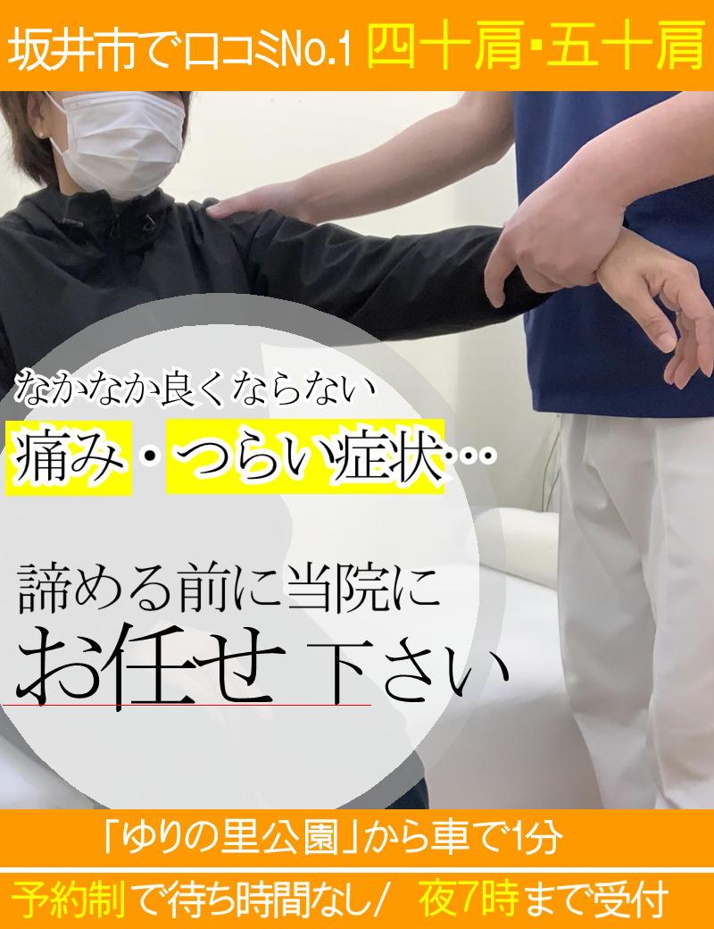 四十肩・五十肩の痛みを改善-坂井市春江町ひまわり整骨院